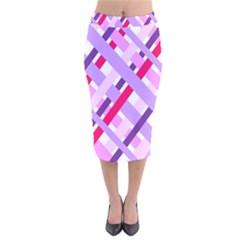 Diagonal Gingham Geometric Velvet Midi Pencil Skirt