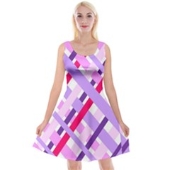 Diagonal Gingham Geometric Reversible Velvet Sleeveless Dress
