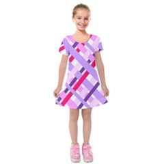 Diagonal Gingham Geometric Kids  Short Sleeve Velvet Dress