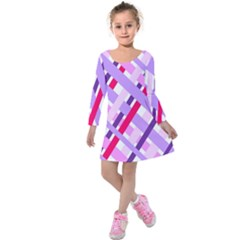 Diagonal Gingham Geometric Kids  Long Sleeve Velvet Dress