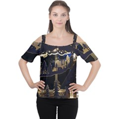 Christmas Advent Candle Arches Women s Cutout Shoulder Tee