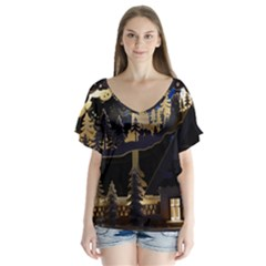 Christmas Advent Candle Arches Flutter Sleeve Top