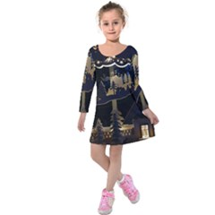 Christmas Advent Candle Arches Kids  Long Sleeve Velvet Dress