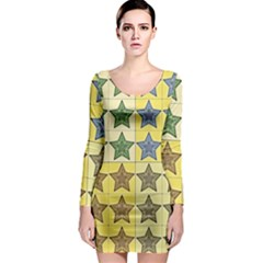 Pattern With A Stars Long Sleeve Bodycon Dress