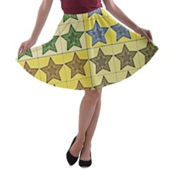 Pattern With A Stars A-line Skater Skirt