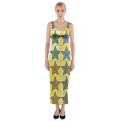 Pattern With A Stars Fitted Maxi Dress