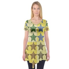 Pattern With A Stars Short Sleeve Tunic