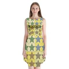 Pattern With A Stars Sleeveless Chiffon Dress