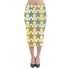 Pattern With A Stars Velvet Midi Pencil Skirt