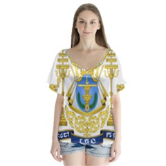 Royal Arms of Cambodia Flutter Sleeve Top