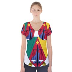 Coat Of Arms Of Cameroon  Short Sleeve Front Detail Top