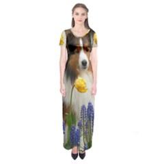 Shetland Sheepdog In Flowers Short Sleeve Maxi Dress