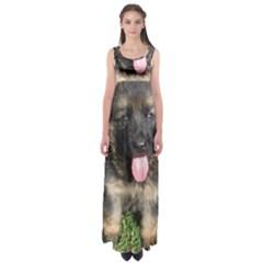 German Shepherd Puppy Empire Waist Maxi Dress