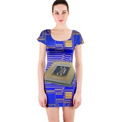 Processor Cpu Board Circuits Short Sleeve Bodycon Dress