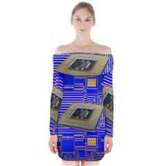 Processor Cpu Board Circuits Long Sleeve Off Shoulder Dress