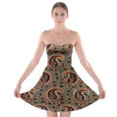 Persian Silk Brocade Strapless Bra Top Dress