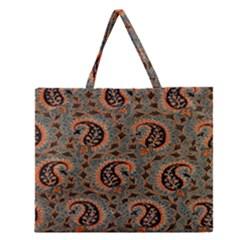 Persian Silk Brocade Zipper Large Tote Bag