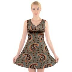 Persian Silk Brocade V Neck Sleeveless Skater Dress