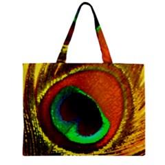 Peacock Feather Eye Zipper Mini Tote Bag