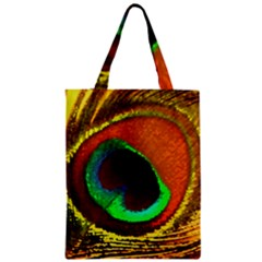 Peacock Feather Eye Zipper Classic Tote Bag