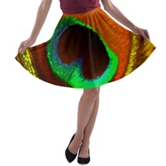 Peacock Feather Eye A-line Skater Skirt
