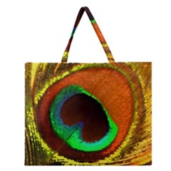 Peacock Feather Eye Zipper Large Tote Bag