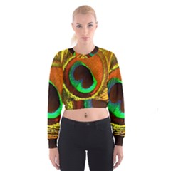 Peacock Feather Eye Women s Cropped Sweatshirt