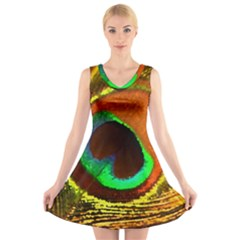 Peacock Feather Eye V Neck Sleeveless Skater Dress