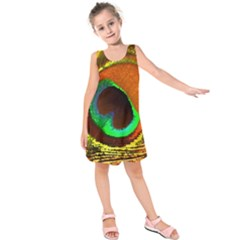 Peacock Feather Eye Kids  Sleeveless Dress