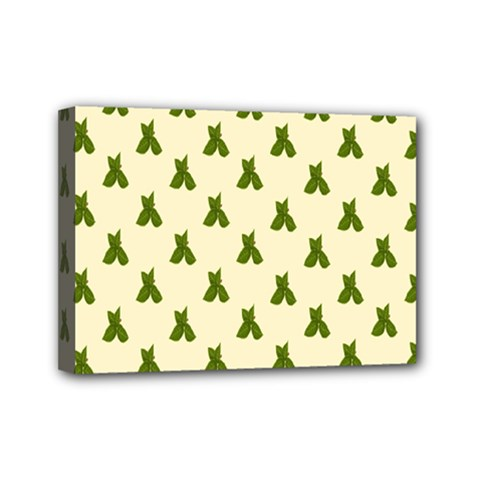 Leaf Pattern Green Wallpaper Tea Mini Canvas 7  x 5
