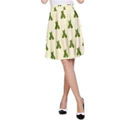 Leaf Pattern Green Wallpaper Tea A-Line Skirt