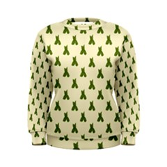 Leaf Pattern Green Wallpaper Tea Women s Sweatshirt
