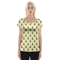 Leaf Pattern Green Wallpaper Tea Women s Cap Sleeve Top