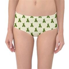 Leaf Pattern Green Wallpaper Tea Mid-Waist Bikini Bottoms