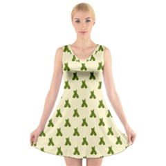 Leaf Pattern Green Wallpaper Tea V Neck Sleeveless Skater Dress