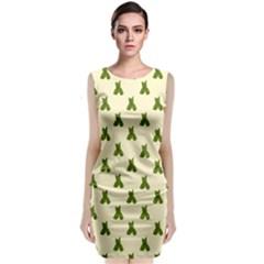 Leaf Pattern Green Wallpaper Tea Classic Sleeveless Midi Dress