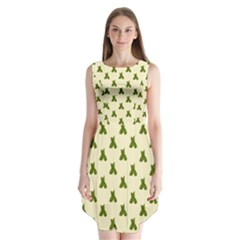 Leaf Pattern Green Wallpaper Tea Sleeveless Chiffon Dress