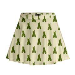 Leaf Pattern Green Wallpaper Tea Mini Flare Skirt