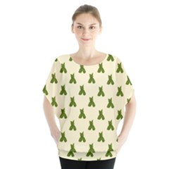 Leaf Pattern Green Wallpaper Tea Blouse