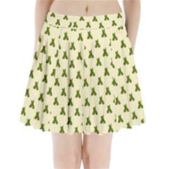 Leaf Pattern Green Wallpaper Tea Pleated Mini Skirt