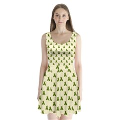 Leaf Pattern Green Wallpaper Tea Split Back Mini Dress