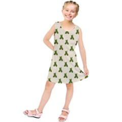Leaf Pattern Green Wallpaper Tea Kids  Tunic Dress