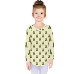 Leaf Pattern Green Wallpaper Tea Kids  Long Sleeve Tee