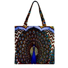 The Peacock Pattern Zipper Grocery Tote Bag