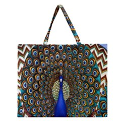 The Peacock Pattern Zipper Large Tote Bag