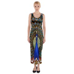 The Peacock Pattern Fitted Maxi Dress