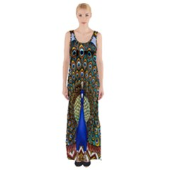 The Peacock Pattern Maxi Thigh Split Dress