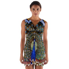 The Peacock Pattern Wrap Front Bodycon Dress
