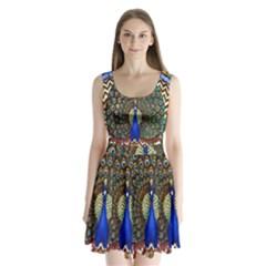 The Peacock Pattern Split Back Mini Dress