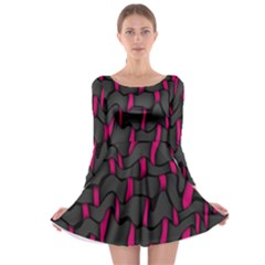 Weave And Knit Pattern Seamless Background Long Sleeve Skater Dress